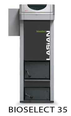 Lasian BIOSELECT 30 caldera de pie de policombustibles sólidos(pellets, cascara de almendra, orujillo, hueso de oliva,etc,...) de 30 KW.solo calefacción. (caldera para biomasa de policombustibles)