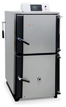 Domusa Lignum IB 20 caldera de gasificación de leña de 20 Kw. de llama invertida de alto rendimiento solo calefacción, modulación electrónica, autonomia de carga de hasta siete horas, el ventilador de la caldera modula ajustando la potencia generada a la