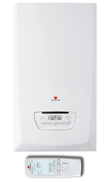 Saunier-duval THEMA CONDENS 25 de 19,6/25,5 KW CONTROL con termostato programable Exacontrol E7R (calefacción y acs) con placa de conexiones y ventosa (caldera gas propano mural estanca mixta de condensación)