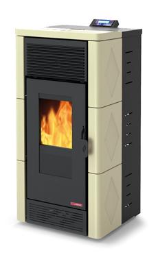 LASIAN modelo STROMBOLI de  3,8 a 12 Kw. calentamiento mediante aire de 12 KW de potencia térmica máxima. Capacidad de calentamiento de 200 m3 (modelos en burdeos y beige)  con mando a distancia.